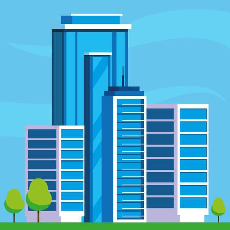 buildings construction cityscape scene vector illustration design Imagens - 124723823