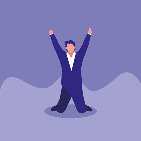 successful businessman celebrating character vector illustration design