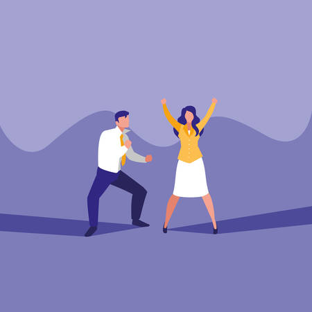 successful business couple celebrating characters vector illustration design Фото со стока - 124723831