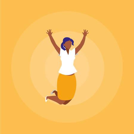 sucessful businesswoman celebrating character vector illustration design Иллюстрация
