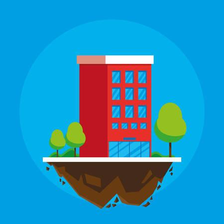 building in terrain scene vector illustration design