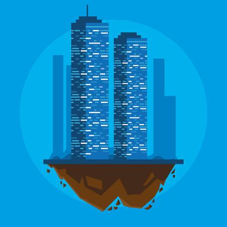buildings cityscape in terrain scene vector illustration design Imagens - 124723848