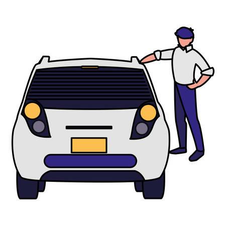 businessman with car character vector illustration design Illustration