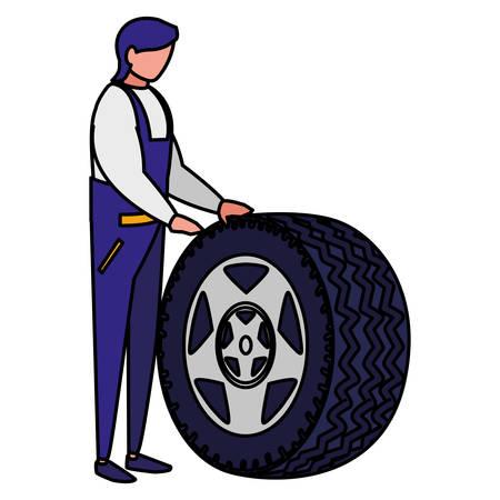 Travailleur mécanicien avec pneu voiture vector illustration design