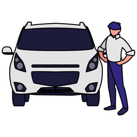 businessman with car character vector illustration design Ilustração
