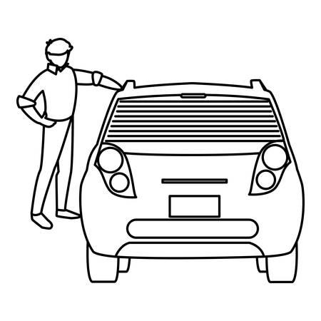 businessman with car character vector illustration design Çizim