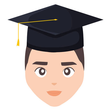 young student graduated head character vector illustration design
