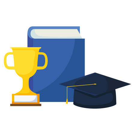 text book with graduation hat and trophy vector illustration design Ilustracja