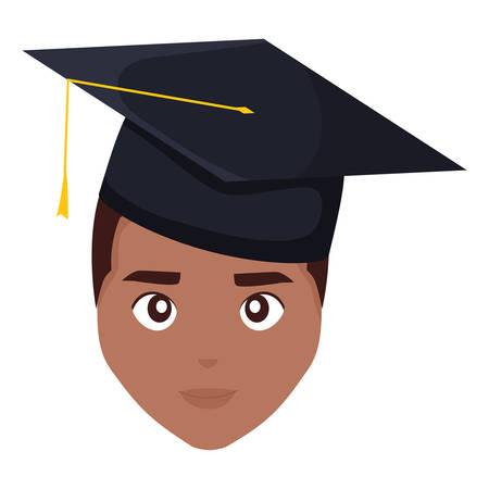 young student graduated black head character vector illustration design Иллюстрация