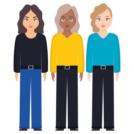 group of women diversity characters vector illustration design