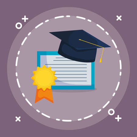 graduation certificate and hat vector illustration design