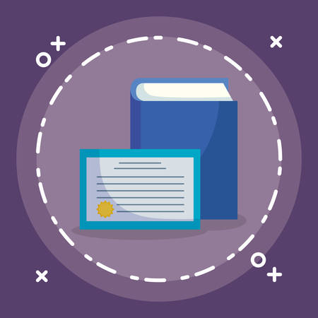 text book and diploma vector illustration design