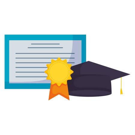 graduation certificate and hat vector illustration design