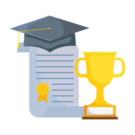 graduation certificate and hat with trophy cup vector illustration design