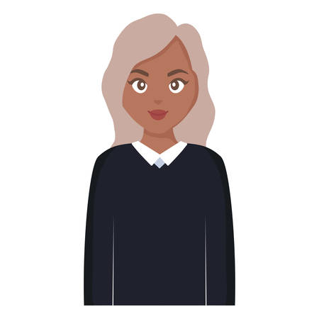 beautiful and young black woman character vector illustration design
