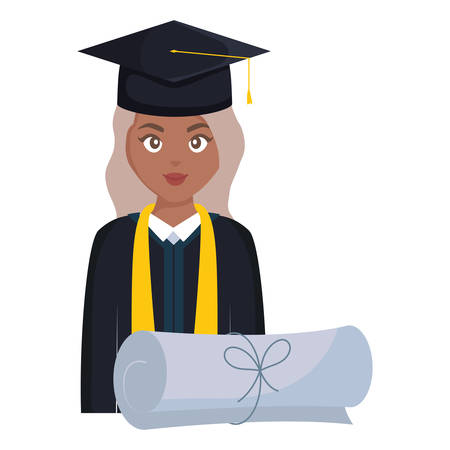 young student graduated girl black head character vector illustration design
