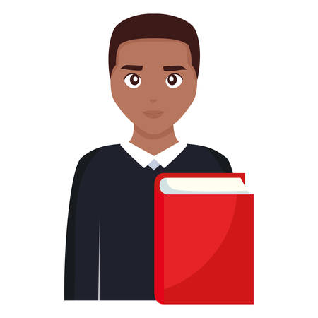 young student black man with book vector illustration design