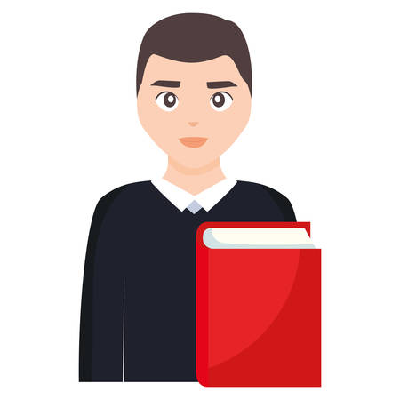 young student man with book vector illustration design