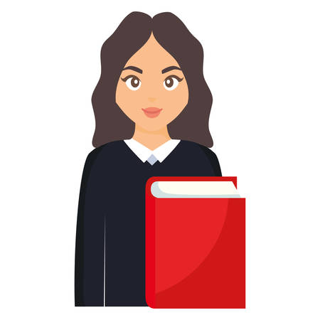 young student woman with book vector illustration design Vetores