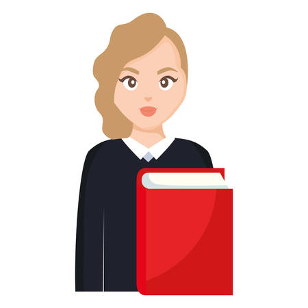 young student woman with book vector illustration design