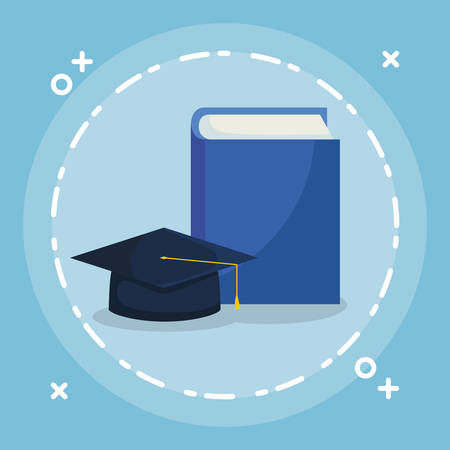 text book with graduation hat vector illustration design Ilustrace