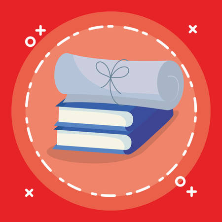 text books with diplomas vector illustration design