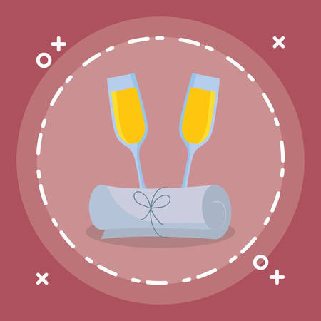 graduation certificate with champagne cup vector illustration design