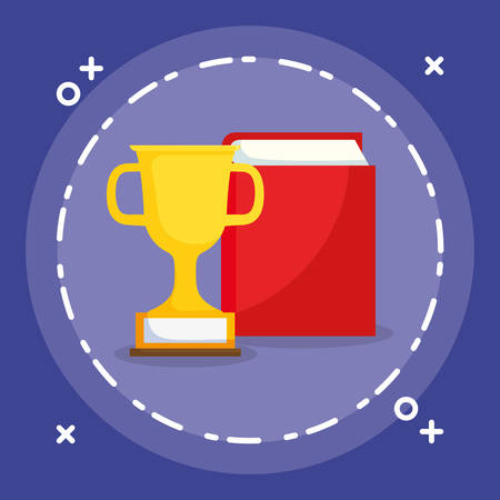 text book and trophy cup vector illustration design Ilustrace