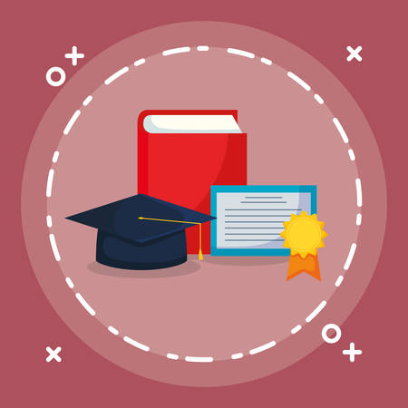 text book with graduation hat and diploma vector illustration design