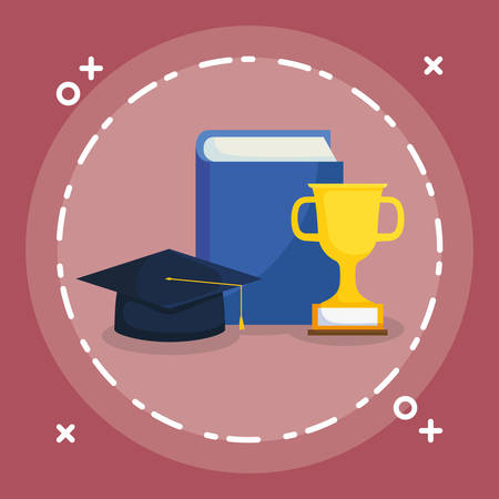 text book with graduation hat and trophy vector illustration design Ilustrace