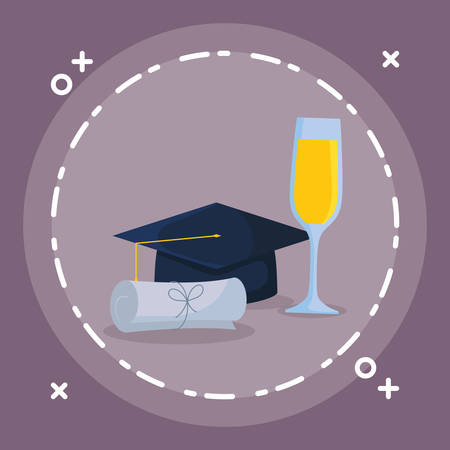 graduation certificate and hat with champagne cup vector illustration design