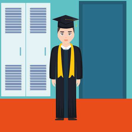young student graduated character vector illustration design Imagens - 124725292