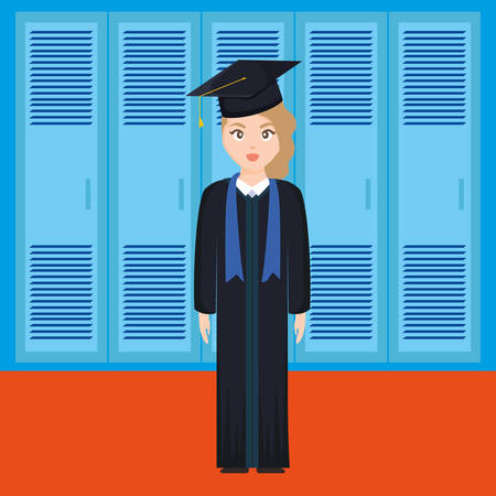 young student graduated girl character vector illustration design Ilustração