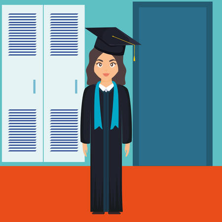 young student graduated girl character vector illustration design Imagens - 124725295
