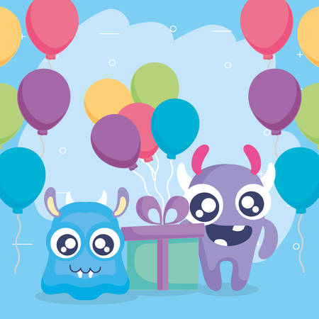 crazy monsters with gift and balloons helium vector illustration design