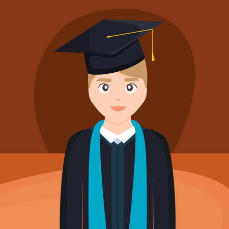 young student graduated character vector illustration design Imagens - 124725301
