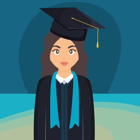 young student graduated girl character vector illustration design Imagens - 124725302