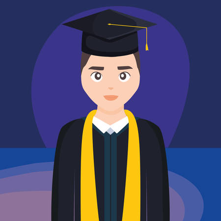 young student graduated character vector illustration design Imagens - 124725305