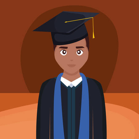 young student graduated black character vector illustration design Imagens - 124725307