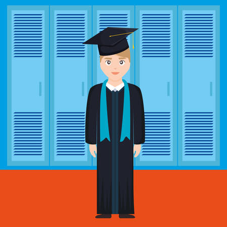 young student graduated character vector illustration design