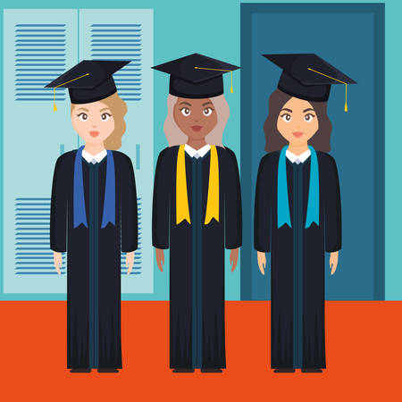 young students graduated girls diversity characters vector illustration design Imagens - 124725314