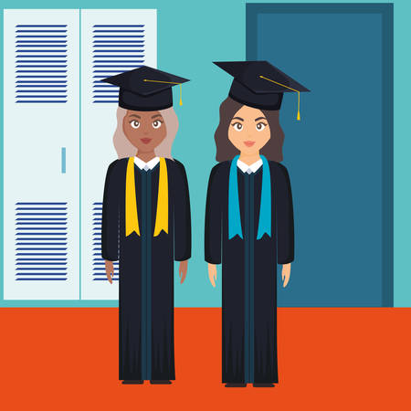 young students graduated girls diversity characters vector illustration design Imagens - 124725315