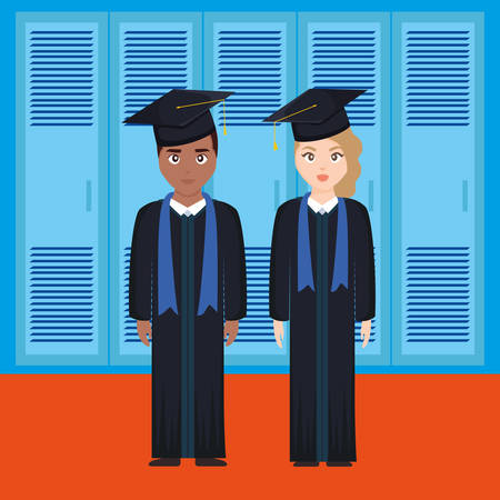 young students graduated diversity couple vector illustration design Imagens - 124725316
