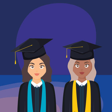 young students graduated girls diversity characters vector illustration design