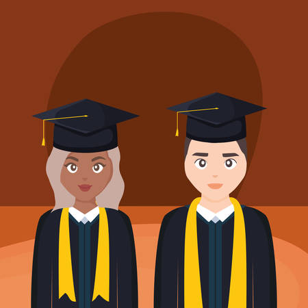 young students graduated diversity couple vector illustration design Imagens - 124725330
