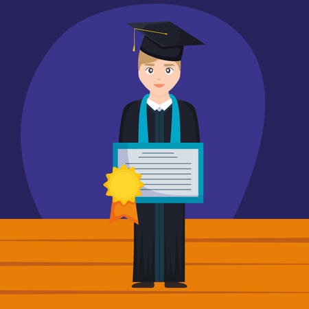 young student graduated with diploma character vector illustration design Imagens - 124725333