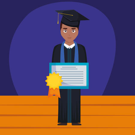 young student graduated black with diploma vector illustration design Imagens - 124725335