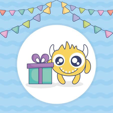 crazy monster with gift and garlands vector illustration design Иллюстрация