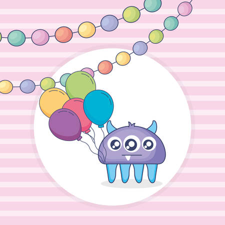 crazy monster with balloons helium and garlands vector illustration design