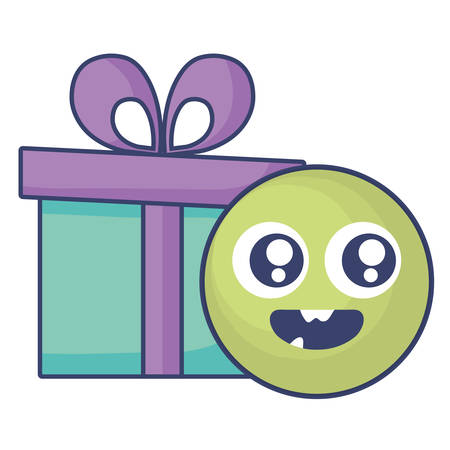 crazy monster with gift comic character vector illustration design Иллюстрация